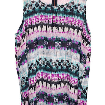 Plus Size Tie Dye For You Printed Tank Top