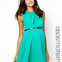 ASOS Maternity Skater Dress With Pleat Neck And Belt