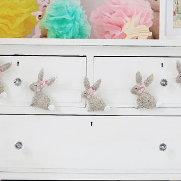 The Speckled Bunny Boo Wool Felt Modern Nursery Garland with Pink Felt Bows