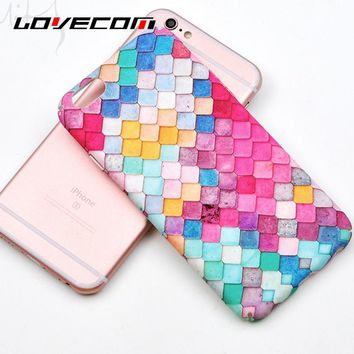 LOVECOM For iPhone 7 6 6S Plus 5 5S SE Ultrathin Scrub Hard Phone Cases Mermaid Fish Scales Image Colorful Painting Shell Capa