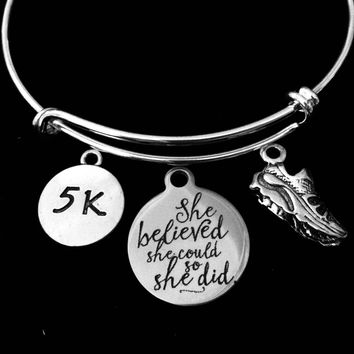 5K or 10K She Believed She Could So She Did Adjustable Bracelet Expandable Bangle Finish Line Gift Trendy Runner Gift