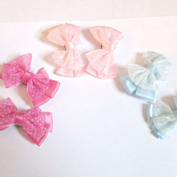 Organza bow hair clips-fabric bow clips-bow hair pin-kids hair clips-grils hair clips- set of 6 clips