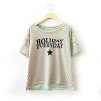 Dotted Letters Print Short-Sleeve Shirt