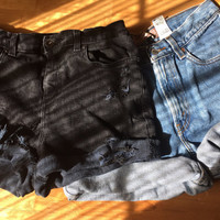 high waist shorts two pair/2 pair/distressed/cuffed/levis lee wrangler guess/denim shorts/plus size/black shorts