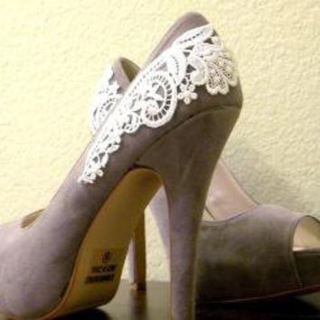 Gray Peep Toe Pumps with White Venise Lace  Size 8 by LaPlumeEthere