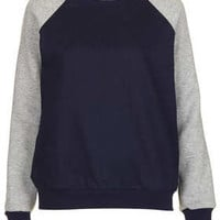 MOTO Raglan Sleeve Denim Sweat - Jersey Tops  - Clothing