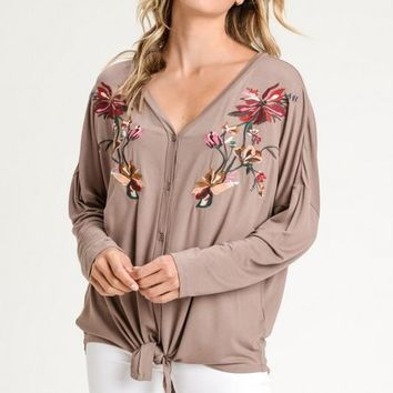 Embroidered Knotted Tee Blouse