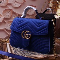 GUCCI GG MARMONT VELVET HANDBAG SHOULDER BAG