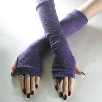 Moon Gazing - Purple multicolored sweater knit arm warmers fingerless gloves goth gothic gypsy lolita violet bohemian boho elf belly dancing