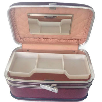Vintage Airway Train Case Burgundy American Eagle Luggage Travel Case Make Up