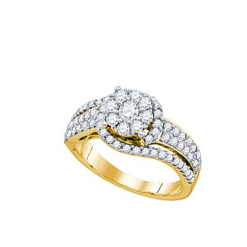10kt Yellow Gold Womens Round Diamond Cluster Cocktail Ring 7/8 Cttw