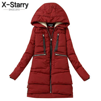 X-Starry 2016 Women Winter Jacket Hooded Cotton Padded Coat Thickening Parkas For Women Plus Size Good Quality Women Coat LN1006