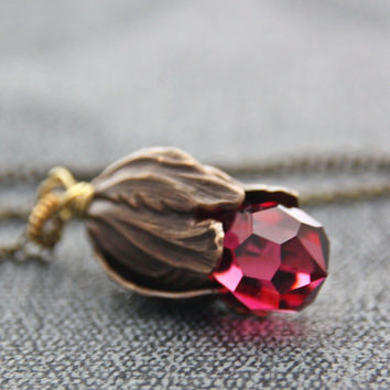 Ruby Red Crystal Necklace Swarovski Bordeaux Teardrop Crystal Antique Brass Tulip Filigree Necklace Flower Crystal Pendant Necklace