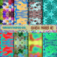 SALE Digital Paper Pack - Colorful Modern Art - 8 High Resolution Jpegs - Rainbow Mirror Designs - Available in INSTANT DOWNLOAD now