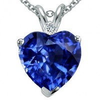 Tommaso Design 8mm Heart Shape Created Sapphire Heart Pendant