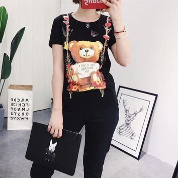 """Moschino"" Women Fashion Cute Cartoon Flower Bear Print Short Sleeve Cotton T-shirt Top Tee"