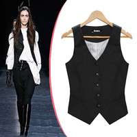 Fashion Single Breasted Patchwork Slim Waist Waistcoat Slim V-neck Formal Vest Women's Black Shrug Suit Vest