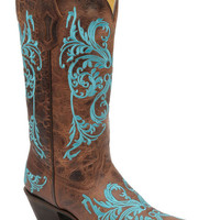 Women's Corral Boots Turquoise Scroll Embroidered Brown Dhalia Cowgirl Boots