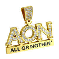 Men's Fully Iced Out Custom Hip Hop All or Nothing 14k Gold Finish Designer Pendant