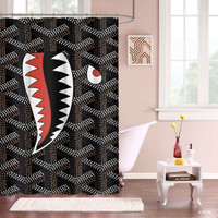 "New Hot Goyard Print Shark Black Custom Shower Curtain 66"" x 72"""