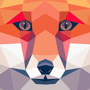 Fox portrait, Geometric print, Original art, Animal print, Minimal art, Bold wall art, Modern art