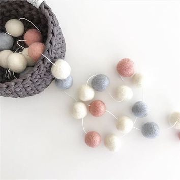 Wool Felt Balls 2cm Wall Decor Hanging Nursery Pom Garland Best Gifts For Kids Room