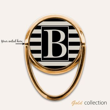 Personalized Monogram Gold Phone Ring Finger Holder Mount Stand Grips
