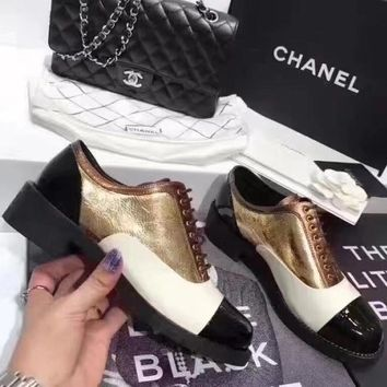 Chanel Women Fashion Leather Heels Shoes 3.5CM