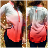 SZ LARGE On The Horizon Coral Dip-Dyed Buttoned Top