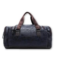 The Olympian - Blue Leather Gym Bag
