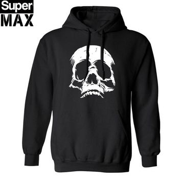 Thick Materi cotton Blend SKULL print men Hoodies with hat fleece casual loose men pullover hooded skull sweatshirt for man 2016