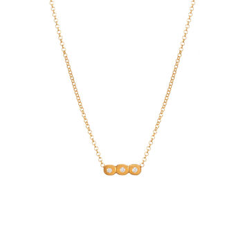 "Then, Now And Forever, Small Bar with Crystal Necklace, 16"" w/ 2"" ext...Gold Dipped, Necklace - Dogeared"