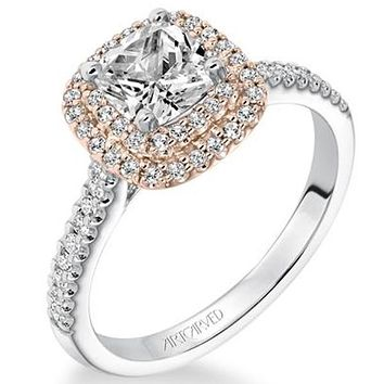 """Artcarved """"Avril"""" Two Tone White And Rose Double Cushion Halo Diamond Engagement Ring"""