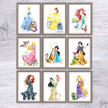 Disney poster Set of 9 Disney princess print Disney watercolor wall decor Kids room wall art Nursery room decor Girls room decoration V443