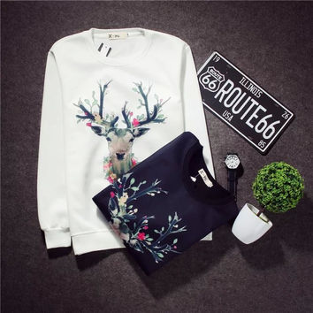 Men's Fashion Print Cotton Hoodies Korean Couple Winter Jacket [6541167427]
