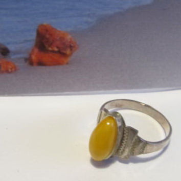Natural #Antique #Vintage #Baltic #Amber #silver #Ring, 2.5 grams #yellow egg yolk butterscotch  #polished  opaque  #oval shape for adult