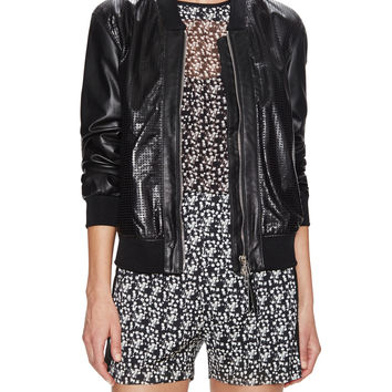Leather Perforated Bomber Jacket