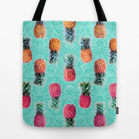 From Pineapple to Pink - tropical doodle pattern on mint Tote Bag by Micklyn