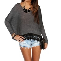 Sale-gray Crochet Long Sleeve