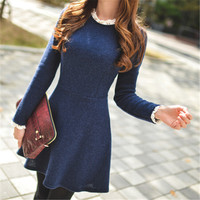 Real Photo New Fashion Women Dresses Autumn Dresses Cute Casual Long Sleeve Slim Lace Sleeve Europe Top Dress Plus Size S-XL