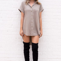 Dara Button Up Tunic Tee- Taupe