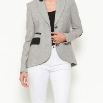 Heather Grey Wool Riding Blazer With Elbow Patches