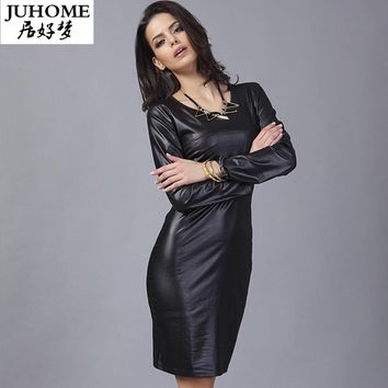 2017 autumn dress casual black sexy pu leather dress clubwear party long sleeve dress ladies fashion Robe Female income vestidos