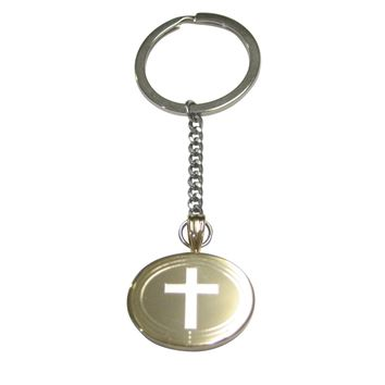 Gold Toned Etched Oval Thick Religious Cross Pendant Keychain