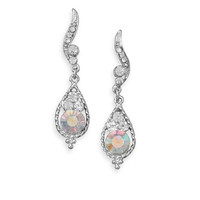 Clear and AB Crystal Fashion Post Drop Earrings