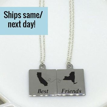 Best Friend Necklace Set, Long Distance, Long Distance Relationship, Deployment Necklace, Deployment, Long Distance, Best Friend Gift