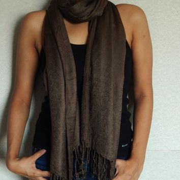 Brown Pashmina Scarf, Indian Scarf, Winter Scarf, Floral Scarf