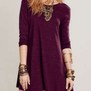 Wine Red Casual Shift Dress Round Neck Dress