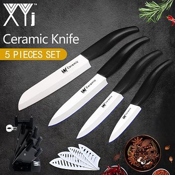 """XYj Kitchen Knives Ceramic Cooking Knife Holder 3""""Paring 4"""" Utility 5"""" Slicing +6"""" Multi-Functional Bread Chef Knife Free Peeler"""
