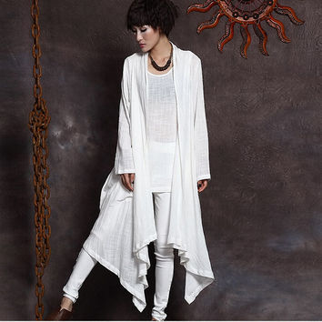 Spring Autumn new cotton linen solid color irregular long-sleeved women's trench coats  fashion cardigan overcoat 950427